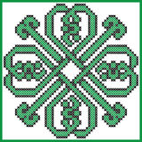 Celtic endless knot in clover with hearts elements in tile  shape in black and green cross stitch pattern Stock Images