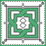 Celtic  endless knot in rosette shape in black and green cross stitch pattern on white and black background inspired by St patrick Royalty Free Stock Photography