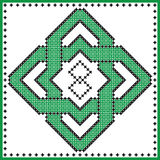 Celtic  endless knot in rosette shape in black and green cross stitch pattern on white and black background inspired by St patrick Stock Photo