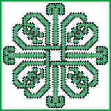 Celtic endless knot in square lover with hearts elements in tile  shape in black and green cross stitch Stock Image