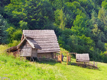 A Celtic farmstead in the Havranok, Slovakia. A summer view of a Celtic farmstead in the Havranok archaeoskansen, Liptov region, northern Slovakia. The Havranok stock photos