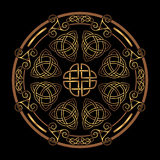 Celtic folk ornament. Golden Ancient pagan Scandinavian sacred symbol and ornament of the Druids Stock Image