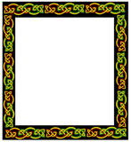 Celtic frame. Celtic ornament framing on white background. Each knot is made of three interlacing wires - green, yellow and red Royalty Free Illustration