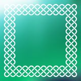 Celtic frame over abstract background. Traditional style braided knot celtic frame over square abstract smooth blur green background Stock Photo