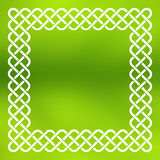 Celtic frame over abstract background. Traditional style braided knot celtic frame over square abstract smooth blur green background Royalty Free Stock Photo
