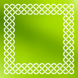 Celtic frame over abstract background. Traditional style braided knot celtic frame over square abstract smooth blur green background Stock Image