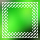 Celtic frame over abstract background. Traditional style braided knot celtic frame over square abstract smooth blur green background Royalty Free Stock Images