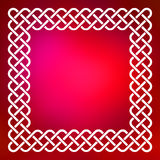 Celtic frame over abstract background. Traditional style braided knot celtic frame over square abstract smooth blur red background Stock Photography