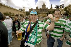 Celtic Glasgow FC supporters. Glasgow Celtic FC supporters in Barcelona before Champions League match vs. FC Barcelona at Montjuich mountain on March 4, 2008 in Royalty Free Stock Photo