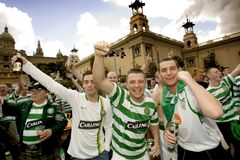 Celtic Glasgow FC supporters. Glasgow Celtic FC supporters in Barcelona before Champions League match vs. FC Barcelona at Montjuich mountain on March 4, 2008 in Stock Photography