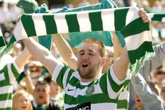 Celtic Glasgow FC supporters stock images