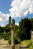 Celtic Gravestone. In front of Glendalough Round Tower Royalty Free Stock Photography