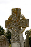 Celtic gravestone cross covered in yellow lichen Royalty Free Stock Photography