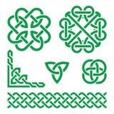 Celtic green Irish knots, braids and patterns Stock Photo