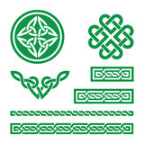Celtic green knots, braids and patterns - vector Royalty Free Stock Photos
