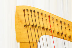 Celtic harp close-up lever and strings Royalty Free Stock Image
