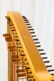 Celtic harp close-up string adjustment Stock Images