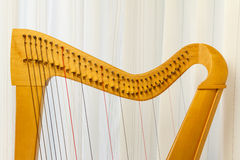Celtic harp close-up of top Stock Photo