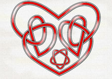 Celtic Heart Knot. An original Celtic knot in the form of a heart and interlocking hearts Stock Photo