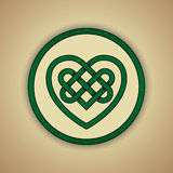 Celtic Heart Knot Symbol of Love. Vector illustration of green celtic knot with slight grunge texture Royalty Free Stock Images