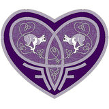 Celtic heart with two cats inside stock illustration