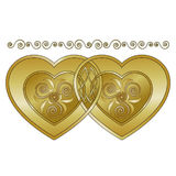 Celtic Hearts. Gold hearts entwined with Celtic knot plus coordinating scroll border Stock Illustration