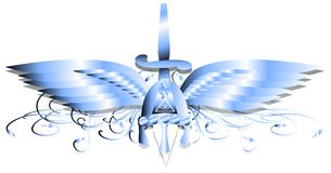 Celtic helmet with wings knife and all seeing eye isolated. Illustration representing a winged decorated Celtic helmet Royalty Free Stock Photo
