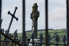 Celtic High Cross in Cemetery, Ireland, North Europe Royalty Free Stock Images
