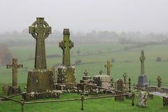 Celtic High Cross in Cemetery, Rock of Cashel, Ireland Stock Photo