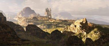 Celtic Highlands Landscape. A distance medieval castle among the Scottish mountain Highlands vector illustration