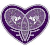 Celtic hjärta med två inre katter Royaltyfri Fotografi