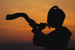 Celtic Horn Sunset. A woman is blowing a celtic horn at sunset Stock Photo