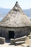 Celtic house in Santa Tecla Mountain. Reconstructed house in the remains of a celtic settlement in Santa Tecla Mount in Galicia, Spain stock photo