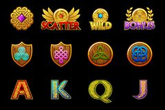 Celtic icons for casino machines slots game with celtic Symbols. Vector slots icons on separate layers. Celtic icons for casino machines slots game with celtic royalty free illustration