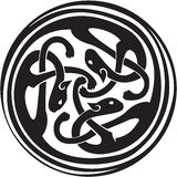 Celtic interwoven animals. Celtic Irish zoomorphic interwoven design in black and white vector format Stock Photography