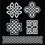Celtic Irish patterns and braids on black Royalty Free Stock Image