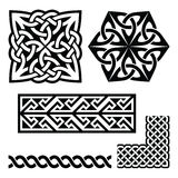 Celtic Irish and Scottish patterns - knots, braids, key patterns. Vector set of traditional Celtic symbols, knots, braids in black  on white Stock Photo