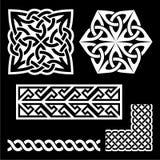 Celtic Irish and Scottish white patterns - knots, braids, key patterns Stock Photos