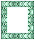 Celtic Key Pattern - green frame, border Royalty Free Stock Photo