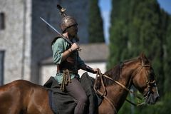 Celtic knight riding horses in traditional costume Royalty Free Stock Image