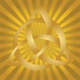 Celtic Knot. Illustration of gold celtic knot on golden burst background Royalty Free Stock Photography
