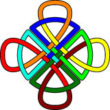 Celtic knot. Multi-colored Celtic knot in the form of a looped cross interwoven with a circular motif Royalty Free Stock Photography