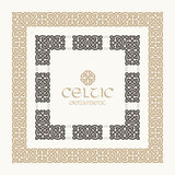 Celtic knot braided frame border ornament kit. Stock Photo