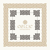 Celtic knot braided frame border ornament kit. Stock Images