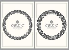 Celtic knot braided frame border ornament. A4 size. Vector illustrations set Royalty Free Stock Images