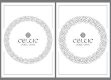 Celtic knot braided frame border ornament. A4 size. Vector illustrations set Royalty Free Stock Image