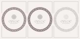 Celtic knot braided frame border ornament. A4 size. Vector illustrations set Stock Photo