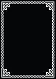 Celtic knot braided white frame - rectangle on black Royalty Free Stock Images
