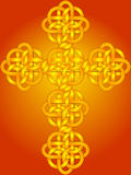 Celtic Knot Cross. Illustration of celtic knot cross in gold and red orange Royalty Free Stock Images