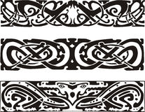 Celtic knot designs with snakes and dragon Royalty Free Stock Images